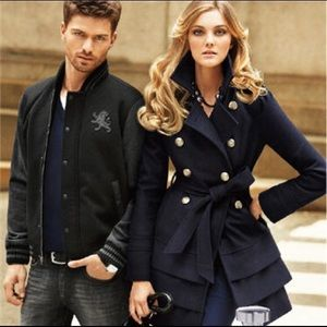 Express Navy Double Breasted Tiered Hem Peacoat